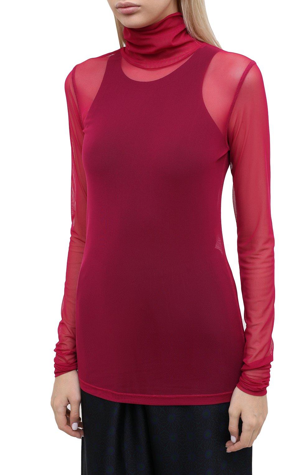Женская водолазка DRIES VAN NOTEN фуксия цвета, арт. 202-11146-1202 | Фото 3 (Женское Кросс-КТ: Водолазка-одежда; Рукава: Длинные; Материал внешний: Синтетический материал; Длина (для топов): Удлиненные)
