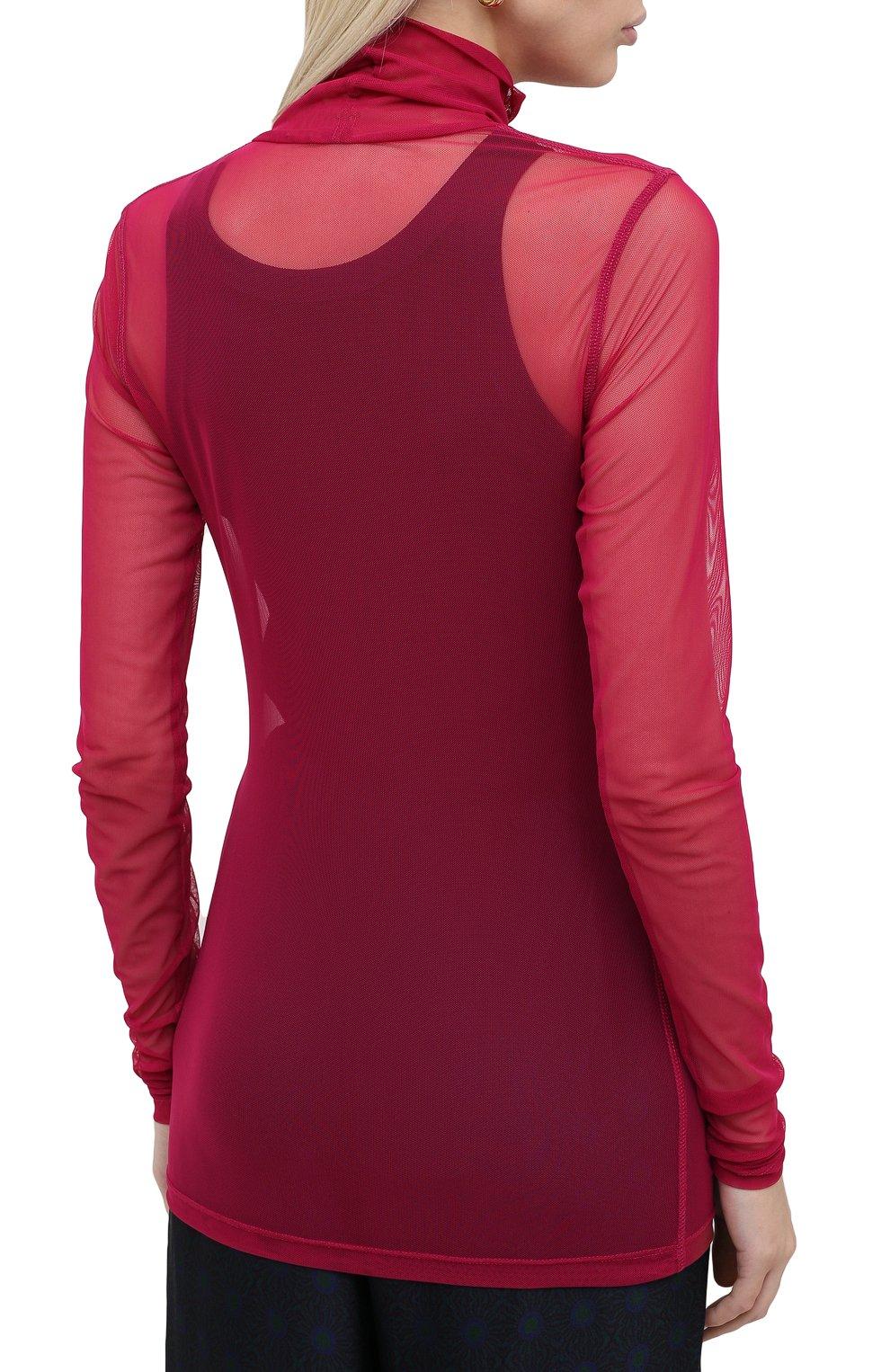 Женская водолазка DRIES VAN NOTEN фуксия цвета, арт. 202-11146-1202 | Фото 4 (Женское Кросс-КТ: Водолазка-одежда; Рукава: Длинные; Материал внешний: Синтетический материал; Длина (для топов): Удлиненные)