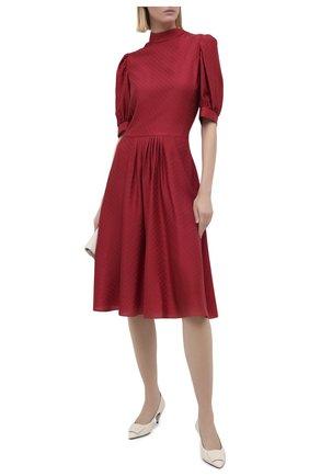 Женское шелковое платье GIORGIO ARMANI красного цвета, арт. 0WHVA06D/T01V0 | Фото 2