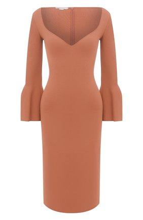 Женское платье из вискозы STELLA MCCARTNEY коричневого цвета, арт. 601756/S2076 | Фото 1 (Длина Ж (юбки, платья, шорты): До колена; Рукава: Длинные; Женское Кросс-КТ: Платье-одежда, платье-футляр; Случай: Повседневный; Материал внешний: Вискоза; Стили: Гламурный)