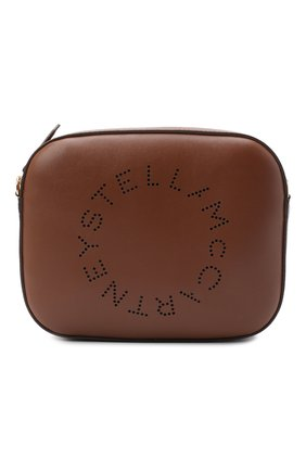 Женская сумка stella logo mini STELLA MCCARTNEY коричневого цвета, арт. 700072/W8542   Фото 1 (Материал: Экокожа, Текстиль; Сумки-технические: Сумки через плечо; Ремень/цепочка: На ремешке; Размер: mini)