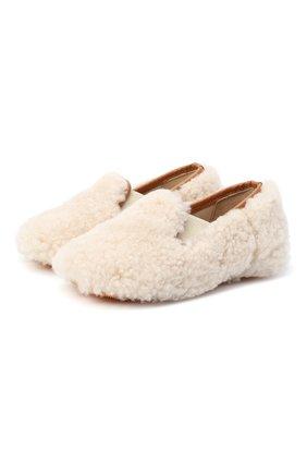 Детского домашние туфли из меха GALLUCCI бежевого цвета, арт. M00003AS/SC P C CRE MCU | Фото 1 (Материал внутренний: Натуральная кожа; Материал внешний: Натуральный мех; Кросс-КТ: слиперы)
