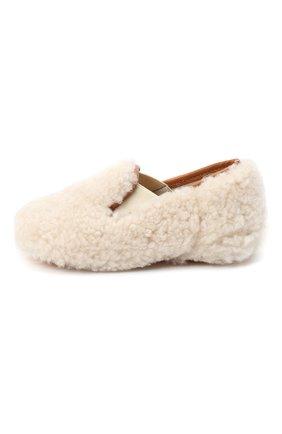 Детского домашние туфли из меха GALLUCCI бежевого цвета, арт. M00003AS/SC P C CRE MCU | Фото 2 (Материал внутренний: Натуральная кожа; Материал внешний: Натуральный мех; Кросс-КТ: слиперы)