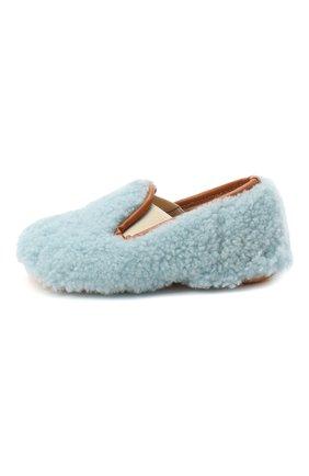 Детского домашние туфли из меха GALLUCCI голубого цвета, арт. M00003AS/SC P C CRE MCU | Фото 2 (Материал внешний: Натуральный мех; Материал внутренний: Натуральная кожа; Кросс-КТ: слиперы)
