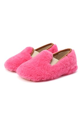 Детского домашние туфли из меха GALLUCCI розового цвета, арт. M00003AS/SC P C CRE MCU | Фото 1 (Материал внешний: Натуральный мех; Материал внутренний: Натуральная кожа; Кросс-КТ: слиперы)