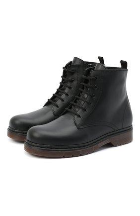 Детские кожаные ботинки IL GUFO черного цвета, арт. G389/VITELL0/35-42 | Фото 1