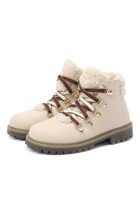 Детские замшевые ботинки с меховой отделкой IL GUFO бежевого цвета, арт. G418/VIT. 0RLAND0C0L0RS/27-30   Фото 1
