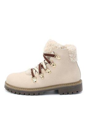 Детские замшевые ботинки с меховой отделкой IL GUFO бежевого цвета, арт. G418/VIT. 0RLAND0C0L0RS/27-30   Фото 2