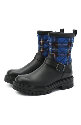 Детские кожаные ботинки MISSOURI синего цвета, арт. 85890/31-34   Фото 1