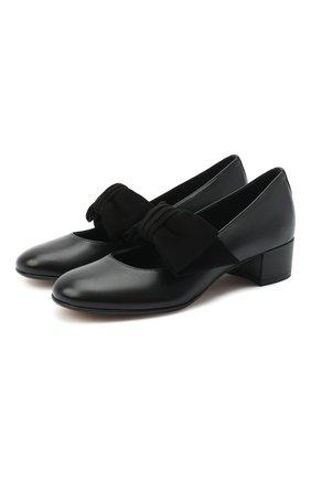 Детские кожаные туфли MISSOURI черного цвета, арт. 78056N/31-34   Фото 1