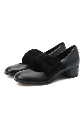 Детские кожаные туфли MISSOURI черного цвета, арт. 78056N/27-30   Фото 1