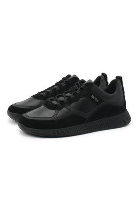 Мужские комбинированные кроссовки BOSS черного цвета, арт. 50440763 | Фото 1