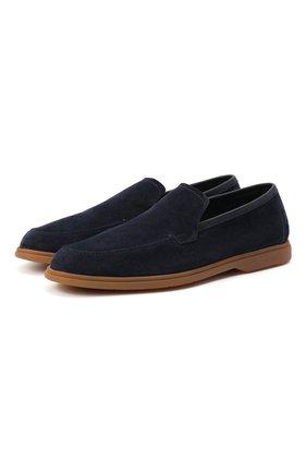 Мужские замшевые лоферы BERLUTI темно-синего цвета, арт. S5014-005 | Фото 1 (Материал внутренний: Натуральная кожа; Мужское Кросс-КТ: Лоферы-обувь; Стили: Кэжуэл)