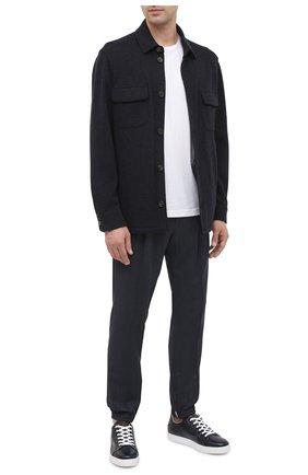 Мужские кожаные кеды BERLUTI темно-синего цвета, арт. S5207-005 | Фото 2