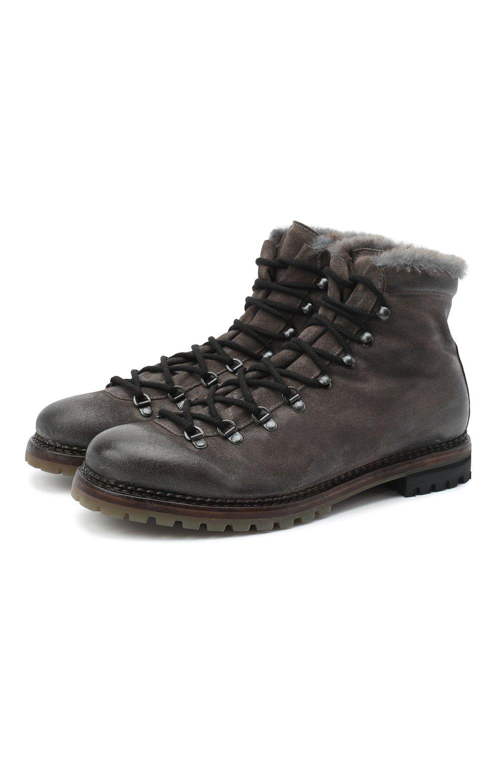 Мужские кожаные ботинки PREMIATA темно-серого цвета, арт. 339P/VINZ+F0D M0NT0NE | Фото 1