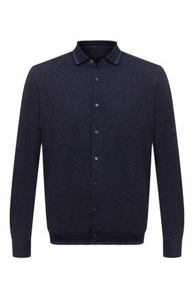 Мужская рубашка из хлопка и кашемира ZILLI темно-синего цвета, арт. MFU-01801-64036/0001 | Фото 1