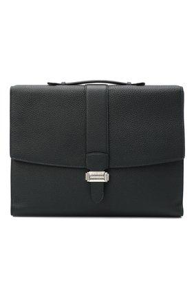 Мужской кожаный портфель SERAPIAN темно-синего цвета, арт. SCACHMLL7095M38A | Фото 1
