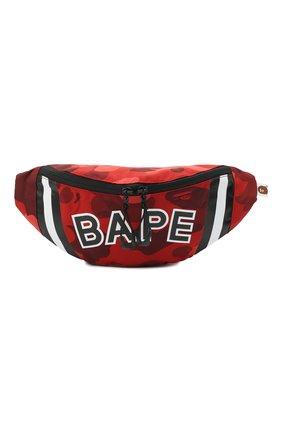 Мужская текстильная поясная сумка BAPE красного цвета, арт. 1G30182008 | Фото 1