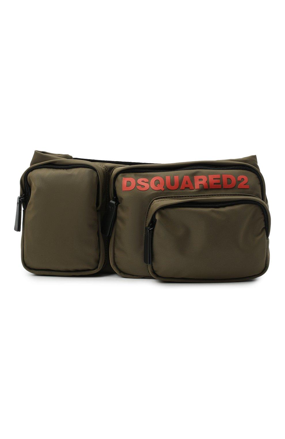 Мужская текстильная поясная сумка DSQUARED2 хаки цвета, арт. BBM0020 11702174   Фото 1