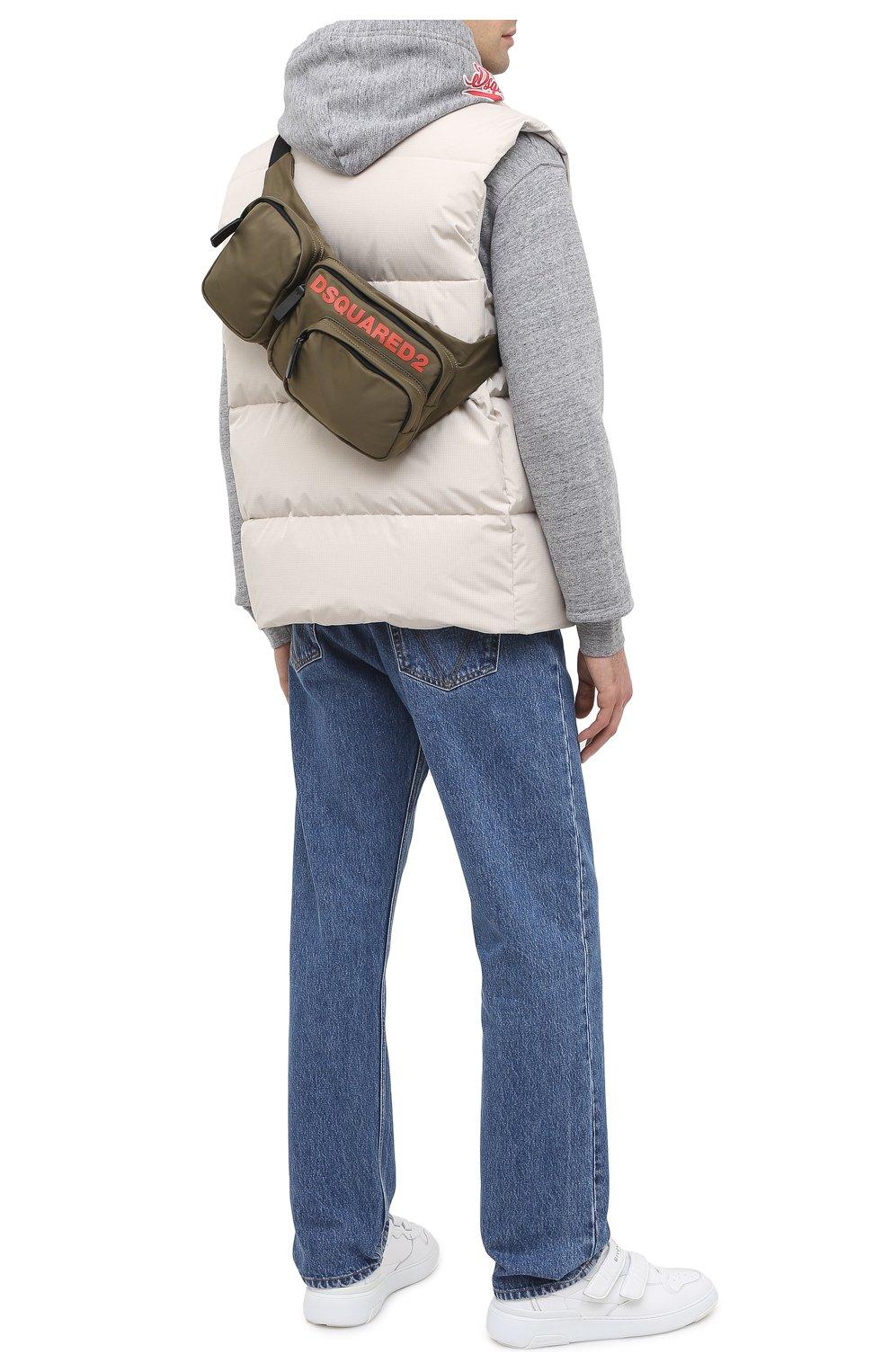 Мужская текстильная поясная сумка DSQUARED2 хаки цвета, арт. BBM0020 11702174   Фото 2