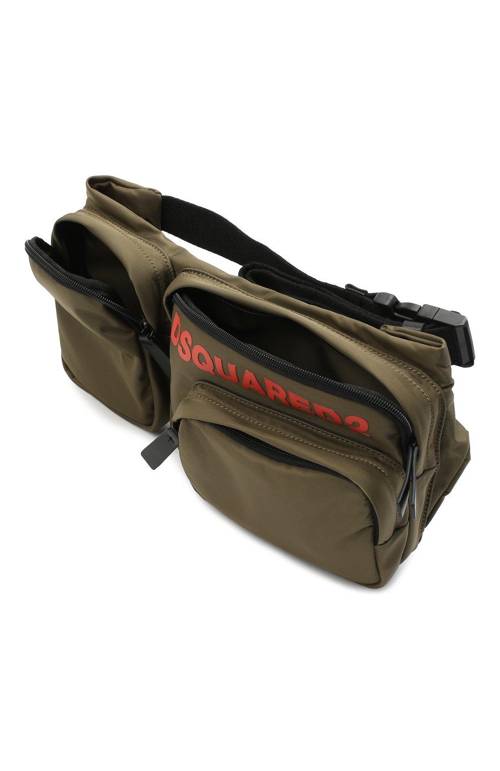 Мужская текстильная поясная сумка DSQUARED2 хаки цвета, арт. BBM0020 11702174   Фото 4