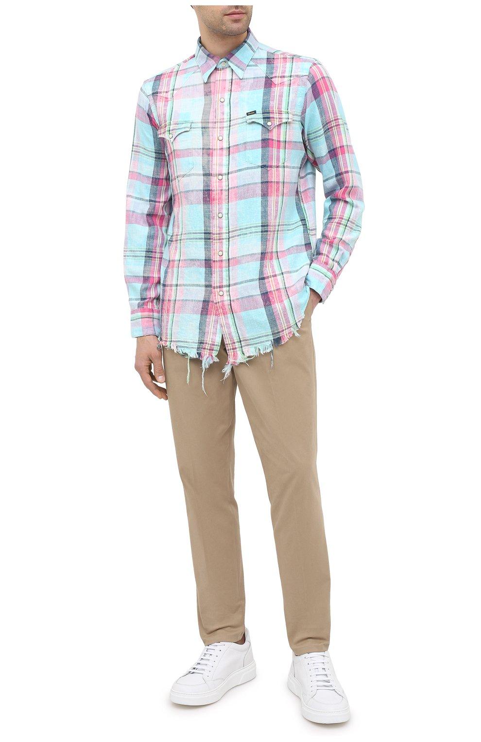 Мужская хлопковая рубашка POLO RALPH LAUREN разноцветного цвета, арт. 710796342/4771 | Фото 2