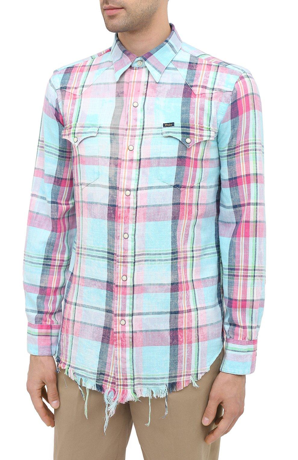 Мужская хлопковая рубашка POLO RALPH LAUREN разноцветного цвета, арт. 710796342/4771 | Фото 3