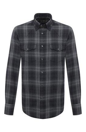 Мужская хлопковая рубашка TOM FORD темно-серого цвета, арт. 8FT850/94MEKI | Фото 1