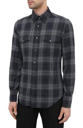 Мужская хлопковая рубашка TOM FORD темно-серого цвета, арт. 8FT850/94MEKI | Фото 3