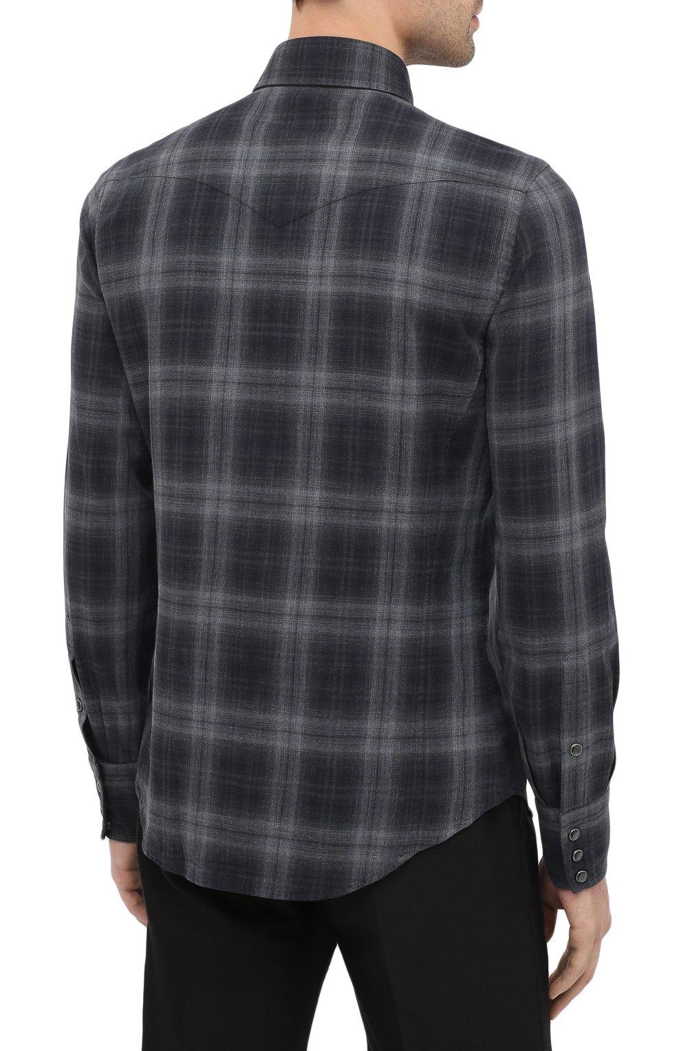 Мужская хлопковая рубашка TOM FORD темно-серого цвета, арт. 8FT850/94MEKI | Фото 4