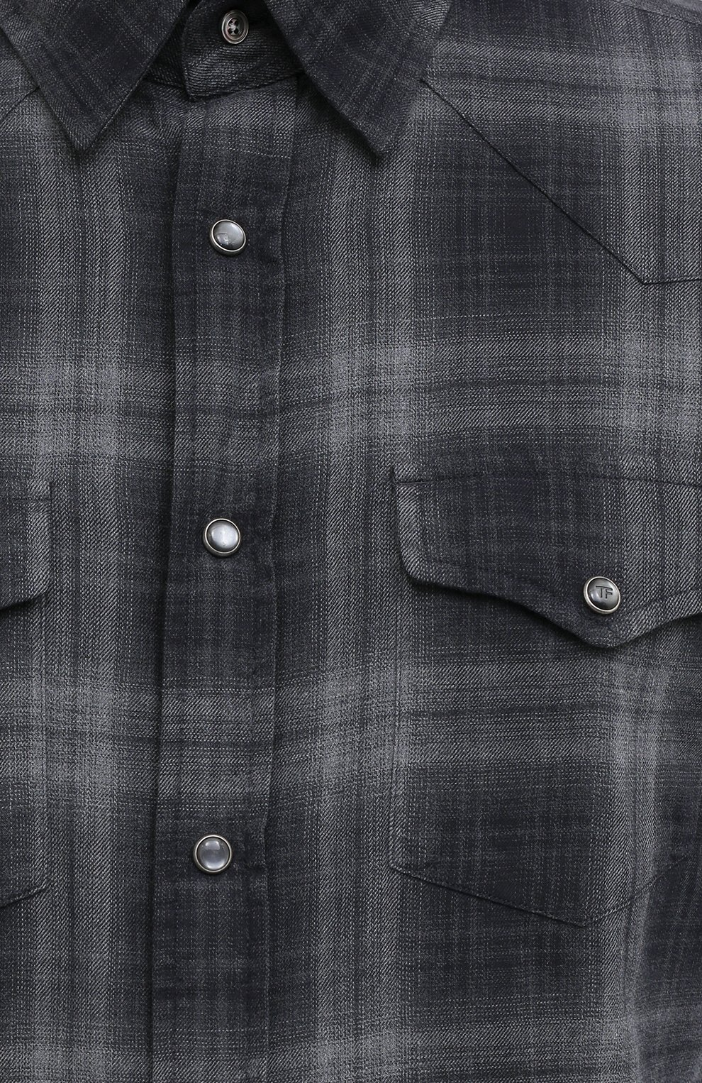 Мужская хлопковая рубашка TOM FORD темно-серого цвета, арт. 8FT850/94MEKI | Фото 5