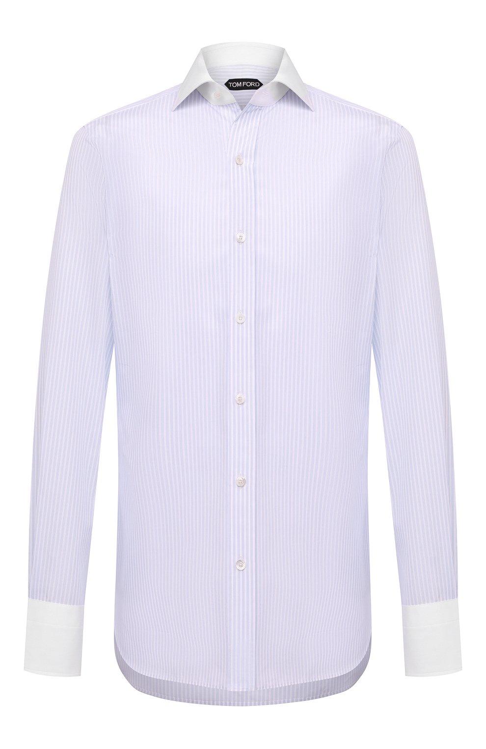 Мужская хлопковая сорочка TOM FORD синего цвета, арт. 8FT629/94SWAX | Фото 1