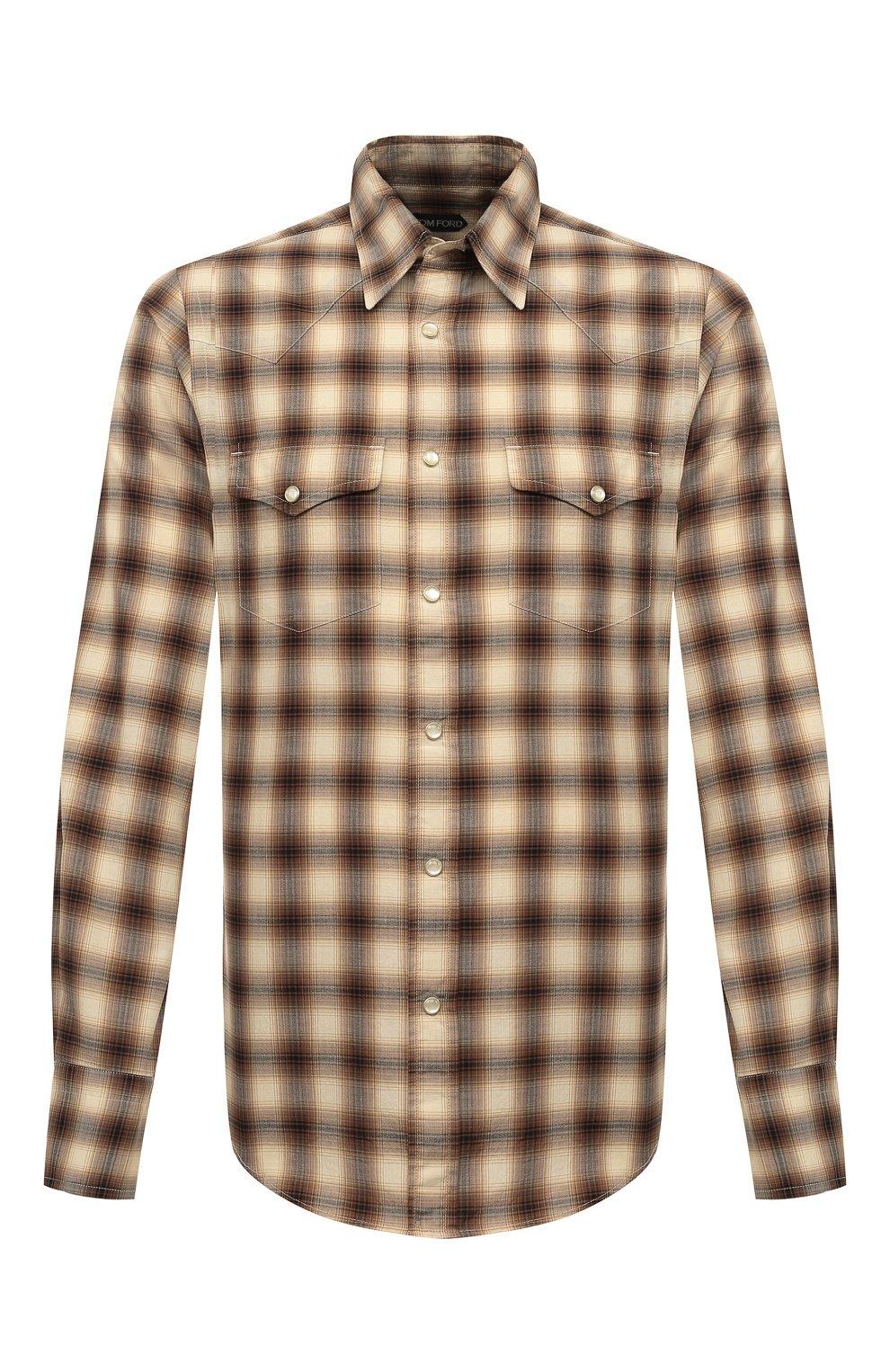Мужская хлопковая рубашка TOM FORD коричневого цвета, арт. 8FT262/94MEKI   Фото 1