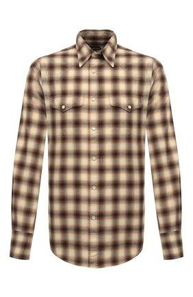 Мужская хлопковая рубашка TOM FORD коричневого цвета, арт. 8FT262/94MEKI | Фото 1