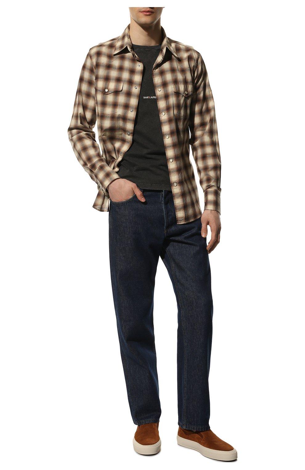 Мужская хлопковая рубашка TOM FORD коричневого цвета, арт. 8FT262/94MEKI   Фото 2