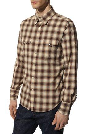 Мужская хлопковая рубашка TOM FORD коричневого цвета, арт. 8FT262/94MEKI   Фото 3