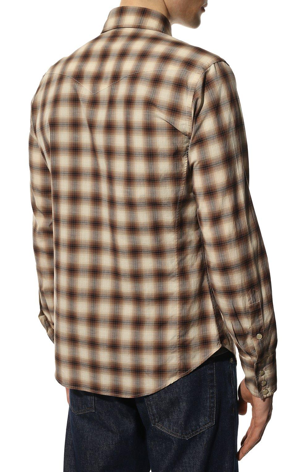 Мужская хлопковая рубашка TOM FORD коричневого цвета, арт. 8FT262/94MEKI   Фото 4