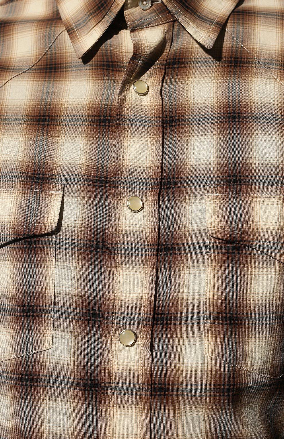 Мужская хлопковая рубашка TOM FORD коричневого цвета, арт. 8FT262/94MEKI   Фото 5