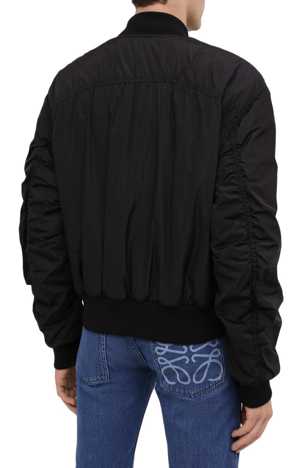 Мужской бомбер DRIES VAN NOTEN черного цвета, арт. 202-20503-1314   Фото 5 (Кросс-КТ: Куртка; Рукава: Длинные; Принт: Без принта; Материал внешний: Синтетический материал; Мужское Кросс-КТ: Верхняя одежда; Длина (верхняя одежда): Короткие; Стили: Кэжуэл)