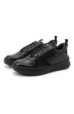 Мужские кожаные кеды HUGO черного цвета, арт. 50440290 | Фото 1
