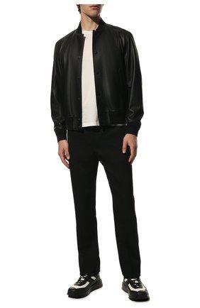 Мужской кожаный бомбер BURBERRY черного цвета, арт. 8029818 | Фото 2