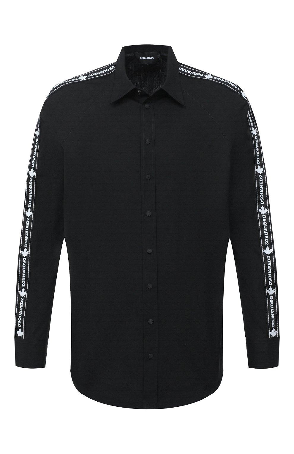 Мужская хлопковая рубашка DSQUARED2 черного цвета, арт. S74DM0449/S36275   Фото 1