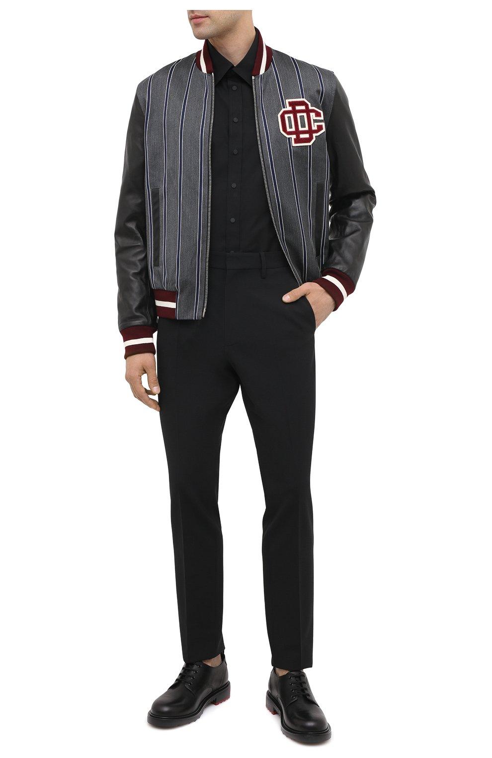 Мужская хлопковая рубашка DSQUARED2 черного цвета, арт. S74DM0449/S36275   Фото 2
