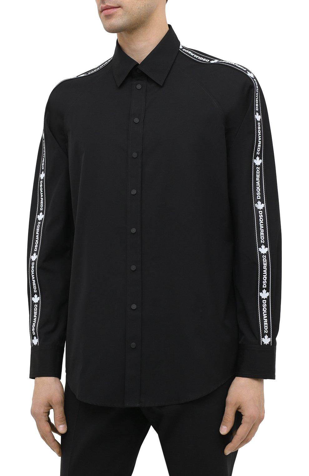 Мужская хлопковая рубашка DSQUARED2 черного цвета, арт. S74DM0449/S36275   Фото 3
