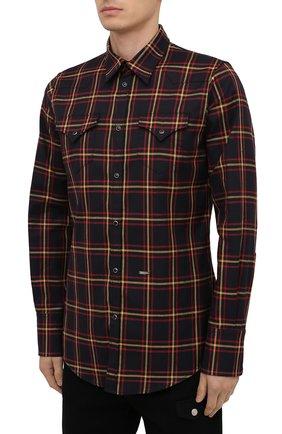 Мужская хлопковая рубашка DSQUARED2 разноцветного цвета, арт. S74DM0457/S52983 | Фото 3