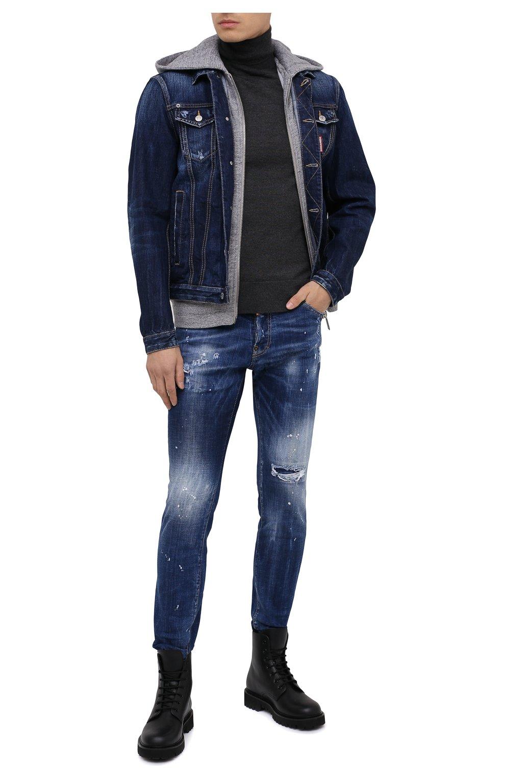 Мужская джинсовая куртка DSQUARED2 синего цвета, арт. S79AM0012/S30309 | Фото 2