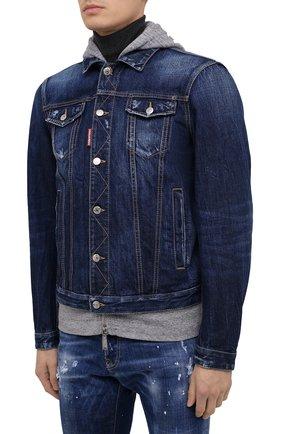 Мужская джинсовая куртка DSQUARED2 синего цвета, арт. S79AM0012/S30309 | Фото 4