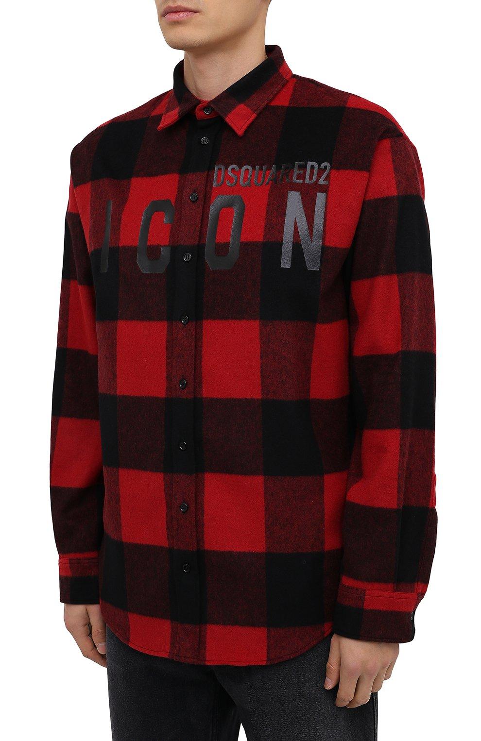 Мужская рубашка DSQUARED2 красного цвета, арт. S79DL0007/S53139 | Фото 3