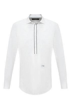 Мужская хлопковая сорочка DSQUARED2 белого цвета, арт. S74DM0421/S35244   Фото 1