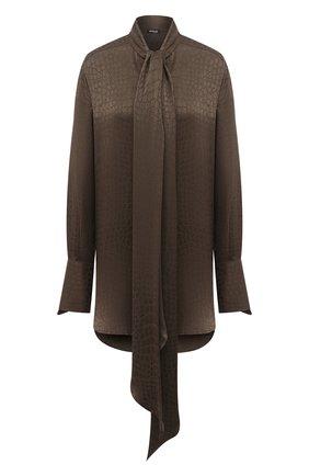 Женская шелковая блузка KITON темно-зеленого цвета, арт. D50412K05T65   Фото 1